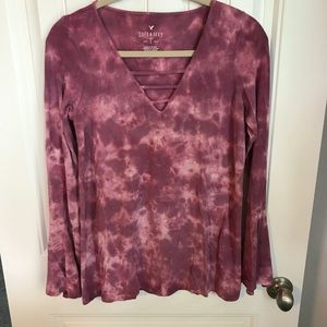 American Eagle pink tie dye bell sleeve soft sexy